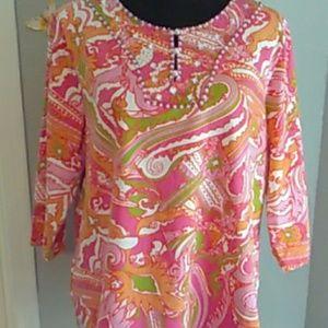 Izaro XL Pink & White Paisley Beaded Cotton Tunic